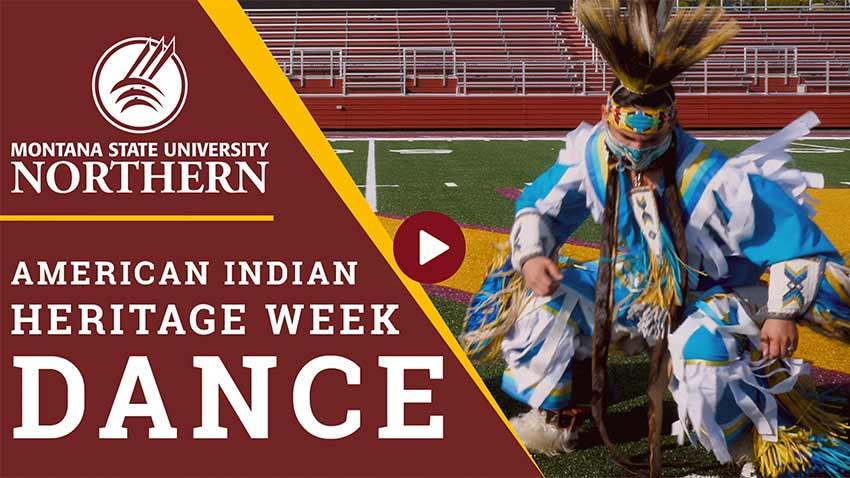 Two MSU-Northern Students do a traditional dance on Tilleman Field in honor of American Indian Heritage Week.