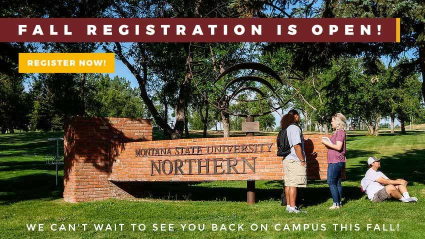 Fall Registration is Open! Register Now! We can't wait to see you back on campus this fall! [photo of students by campus entrance]
