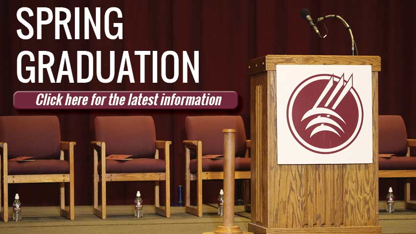 Spring Graduation   click here for the latest information [graduation stage with podium]