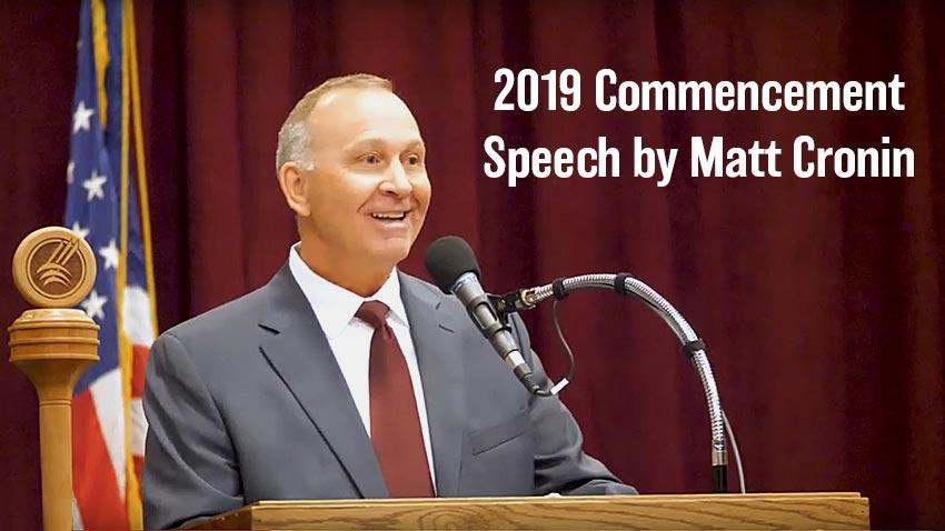 Video of 2019 Commencement speaker Matt Cronin.