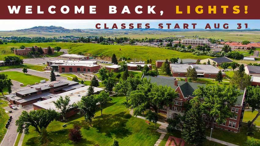 Welcome Back, Lights! Classes start Aug 31 (campus areal picture]