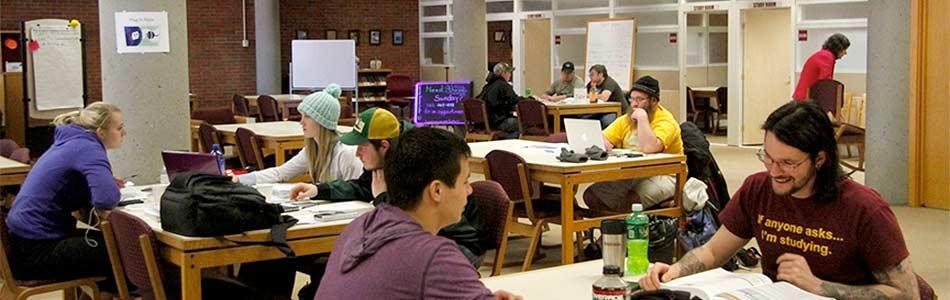 Students study in a common area on MSU Northern's campus