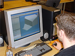 Student working on a computer aided design