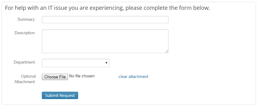 Screen clipping - Help Desk ticket entry form
