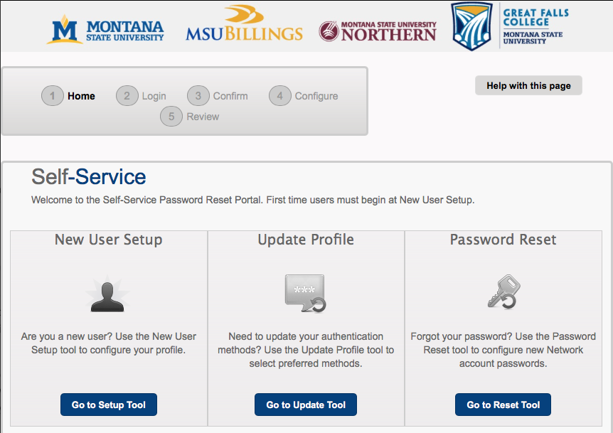 Self-Service Password Reset Port Home page