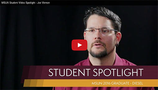 Video Link: MSU-Northern Student Spotlight: Joe Vernon - Click to View