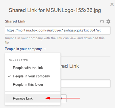Remove link option on shared link screen