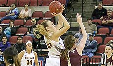 MSU-Northern Sklylight Basketball players in action